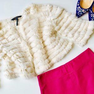 BCBGMAXAZRIA Fur Cropped Cardigan 💛